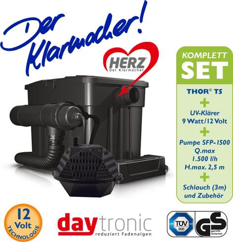Filterset THOR T5 Filterkomplettset mit HERZ-Technologie inkl.SFP Pumpe 1.500l und UV-Klärer 9W