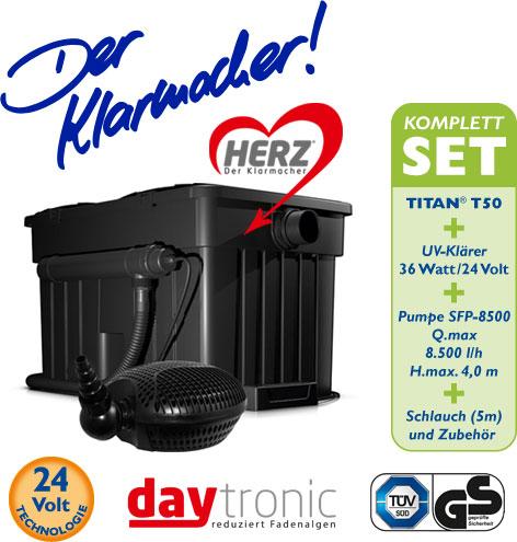 Filterset Titan T50 Filterkomplettset mit HERZ-Technologie inkl.SFP Pumpe 8.500l und UV-Klärer 36W