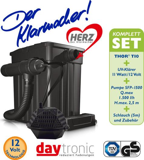 Filterset THOR T10 Filterkomplettset mit HERZ-Technologie inkl.SFP Pumpe 1.500l und UV-Klärer 11W